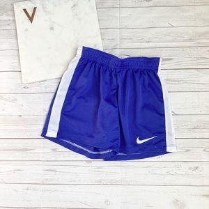 nike boys xs blue athletic shorts polyester white